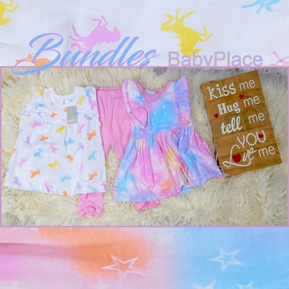 4b397462265cf The Children's Place Matching Sets | Nwt 69mos Unicornstar Shirt ...